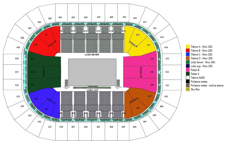 mapa arena beograd Ulaznice za KK CRVENA ZVEZDA TELEKOM   Kombank Arena, Beograd  mapa arena beograd